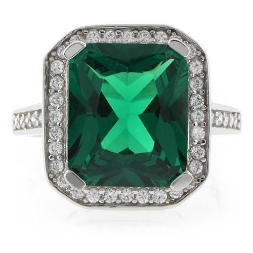 emerald cut emerald micropave silver ring