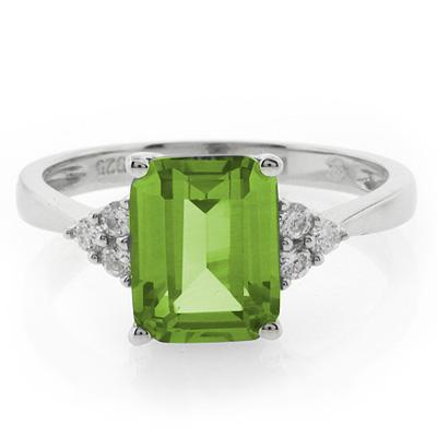 emerald cut peridot 925 silver ring gemross