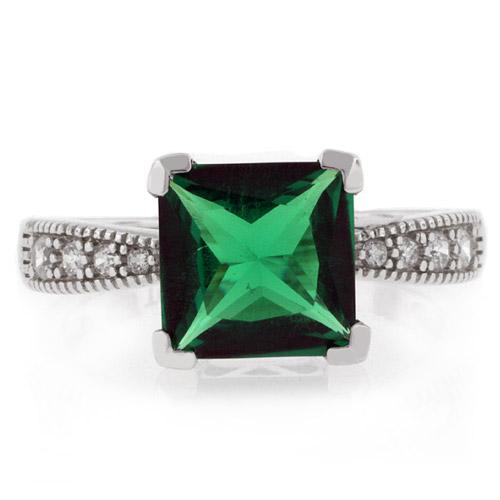 princess cut emerald gemstone silver ring