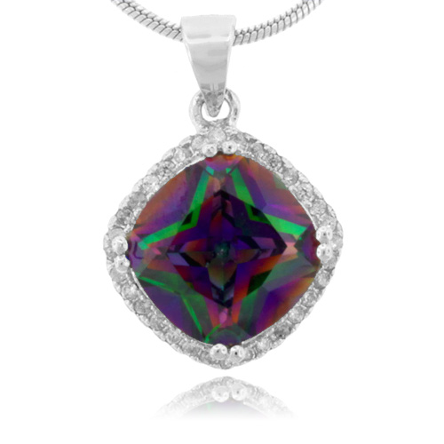 cushion cut mystic topaz silver pendant gemross