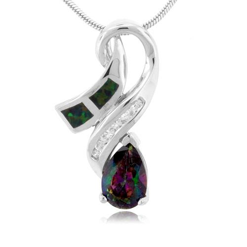 pear cut caribbean topaz and opal silver pendant gemross