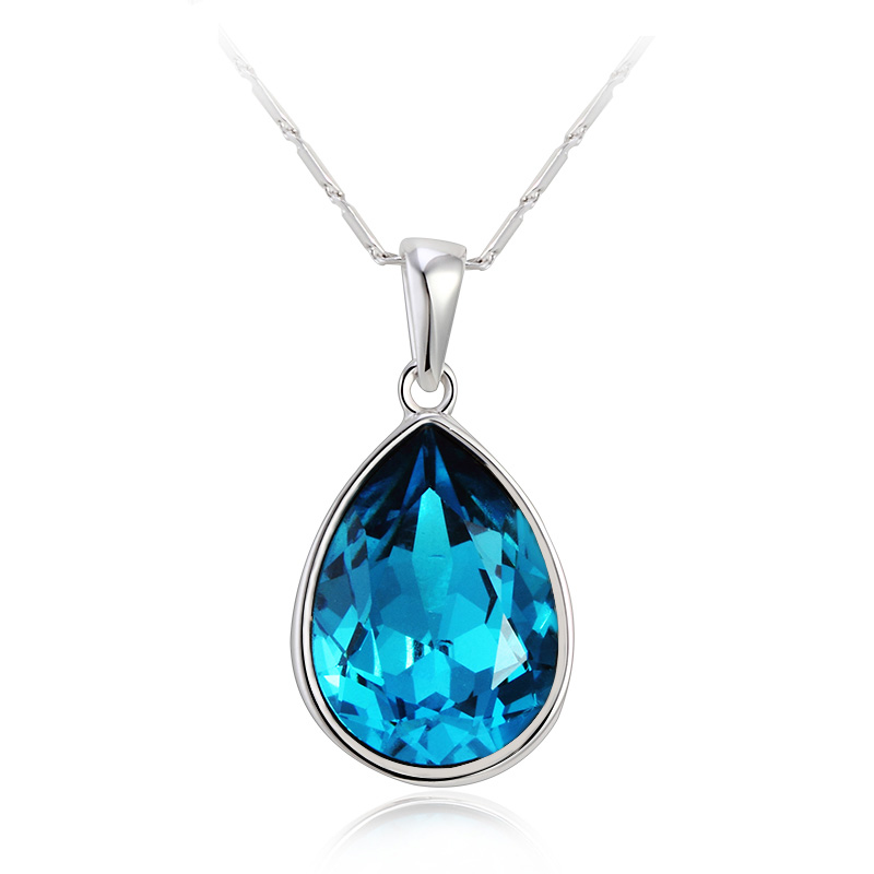18k white gold plated blue swarovski tear necklace gemross