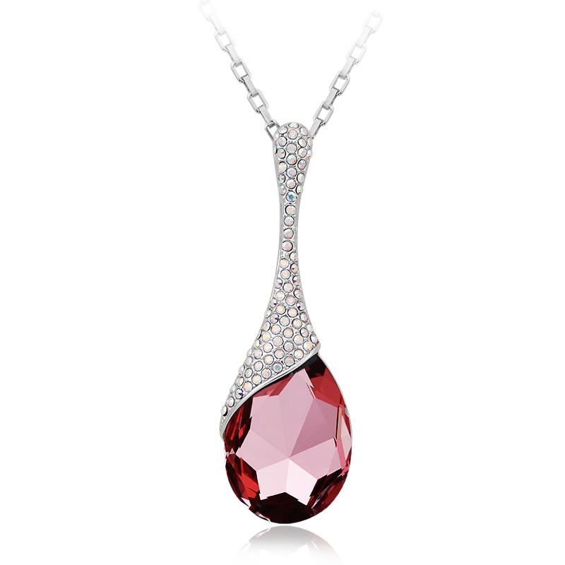 18K White Gold Plated Pink Tear Swarovski Crystal Necklace