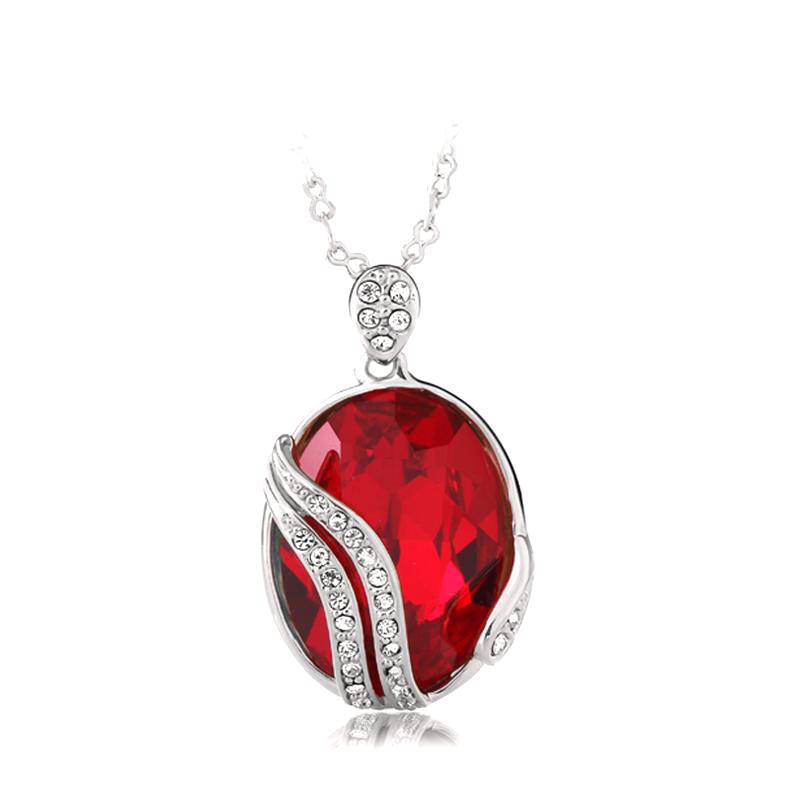 18K White Gold Plated Red Swarovski Crystal Necklace