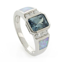White Opal Emerald Cut Alexandrite Silver Ring