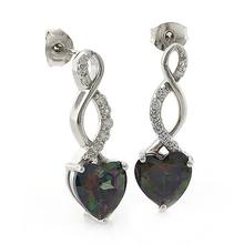 Heart Shape Smoked Topaz Silver Drop Earrings