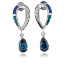 Alexandrite With Australian Opal Silver Earrings