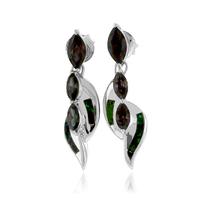 3 Stone Mystic Topaz and Green Opal Silver Earrings