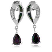 Green Opal with Mystic Topaz Sterling Silver Drop Earrings