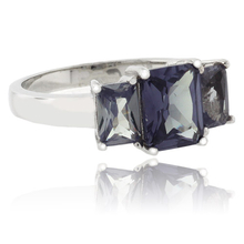 3 Emerald-Cut Alexandrite Sterling Silver Ring