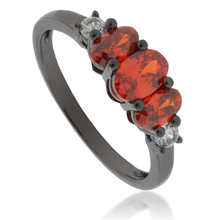 3 Oval-Cut Mexican Fire Opal .925 Oxidized Silver Ring