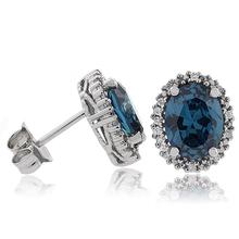 Alexandrite Oval Cut Silver Stud Earrings