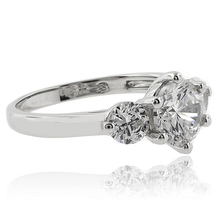 Round Cut 3 Stone Engagement 925 Silver Ring