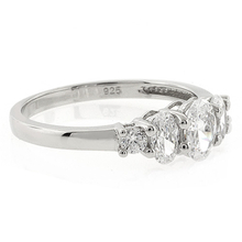 Oval Cut 3 Stone Engagement Silver Ring