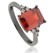 Gorgeous Mexican Fire Opal .925 Black Silver Ring