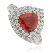 Fire Opal Trillion Cut Stone Silver Ring