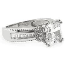 Princess Cut Simulated Diamond Silver Ring