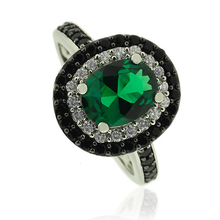 Silver Ring With Oval Cut Emerald Gemstone and Zirconia