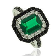 Silver Ring With Emerald Gemstone and Zirconia