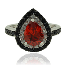 Fire Opal Ring in Drop Cut with Sterling Silver and Zirconia