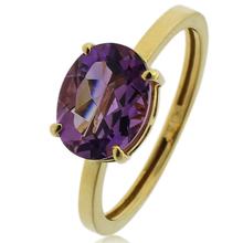14k Gold Ring With Oval Cut Amethyst Gemstone