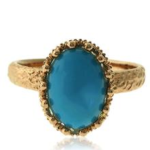 Genuine Turquoise Ring with 18 karat Yellow Gold