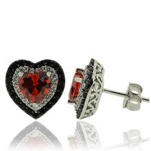 Silver Earrings With Zirconia and Heart Shape Fire Opal Gemstones.