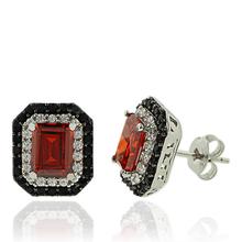 Silver Earrings With Fire Opal Gemstone In Emerald Cut and Zirconia