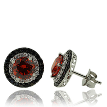 Silver Earrings With Fire Opal Gemstone In Round Cut and Zirconia