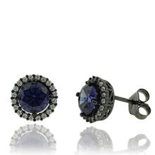 Black Silver & Tanzanite Earrings in Round Cut