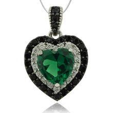 Sterling Silver Pendant With Emerald Gemstone in Hearth Shape and Zirconia.