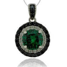 Sterling Silver Pendant With Emerald Gemstone in Round Cut and Zirconia.