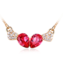 Cute Necklace with Pink Swarovski Crystal and Golden Plated