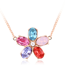 Beautiful Swarovski Color Flower Necklace