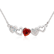 Cute Swarovski Necklace with Red Heart