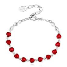 Swarovski Bracelet with Red Hearts