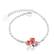 Swarovski Bracelet with Red Clover