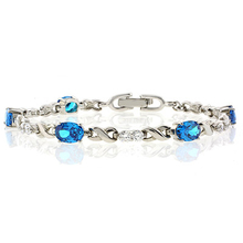 Blue Topaz Silver Bracelet Oval Brilliant Cut