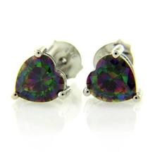 Heart Cut Mystic Topaz Fashion .925 Sterling Silver Earrings