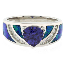 Opal Ring with Tanzanite in .925 Silver