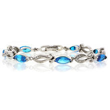 Blue Topaz Silver Bracelet Trillion Cut