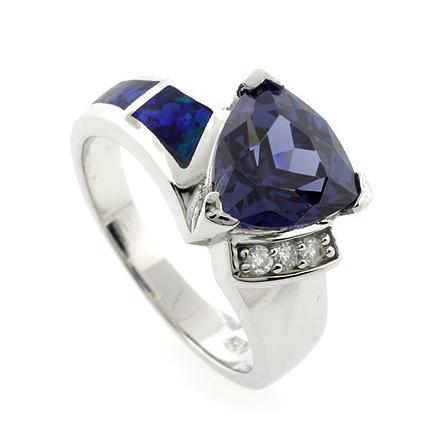 Australian Opal Fashion Ring with Trillion Cut Tanzanite