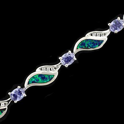 Australian Opal And Oval Cut Tanzanite Silver Bracelet