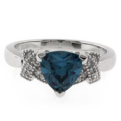 Color Changing Alexandrite Trillion Cut Stone Ring Bluish