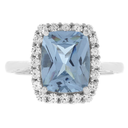Emerald Cut Aquamarine 925 Silver Ring