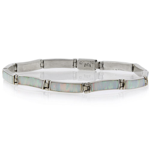 White Australian Opal 950 Silver Bracelet