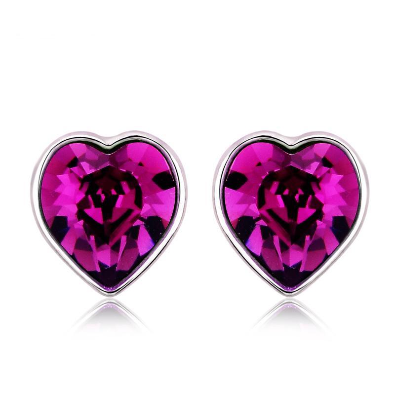 Beautiful Purple Swarovski Heart Earrings