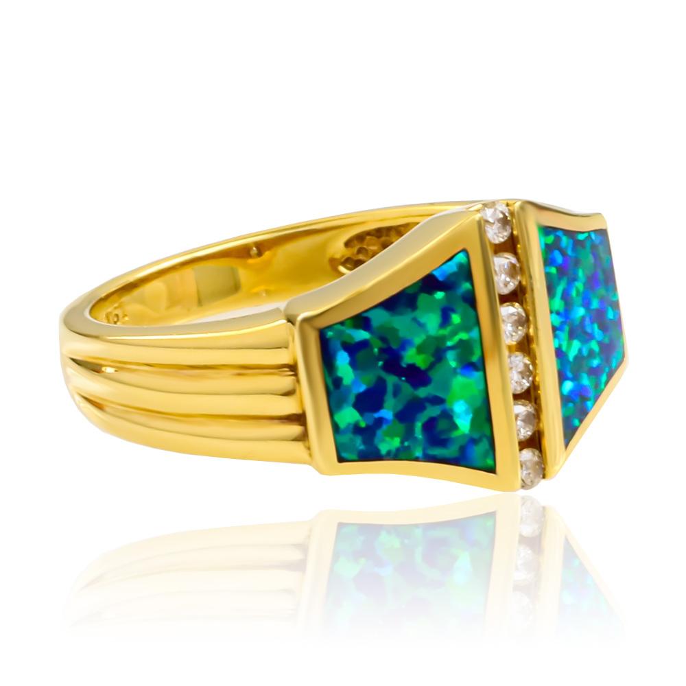 Australian Blue Opal And Diamonds 14k Yellow Gold Ring