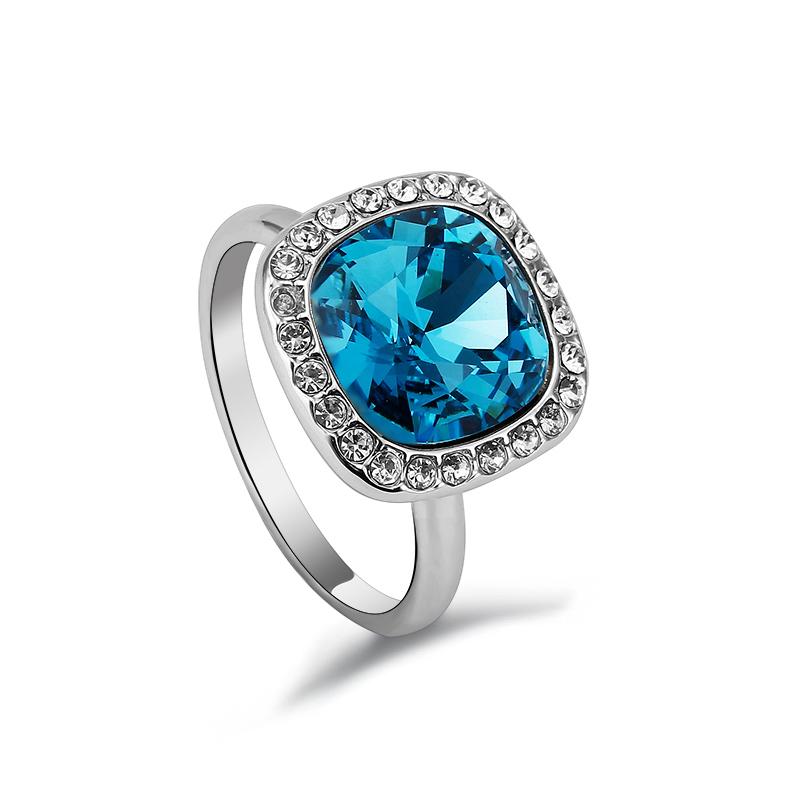 Blue Swarovski Crystal Ring Gemross