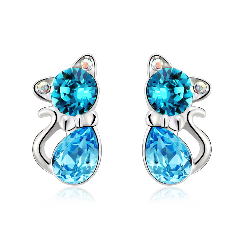 Blue swarovski crystal kitty earrings gemross - Figuras de cristal swarovski ...